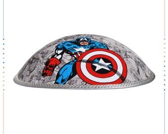 Captain America - kippah yarmulke yamaka kippa. Jewish wedding - Bar Mitzvah - Shabbat.