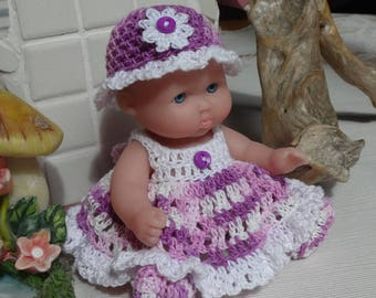 Crochet outfit itty bitty Berenguer 5 inch LTL Lots to Love baby doll  Dress Hat Panty Booty  Purple White