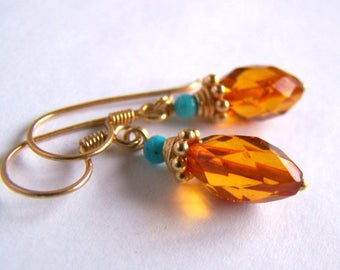 Faceted genuine Baltic Amber Earrings Natural Turquoise Gold Vermeil Colorful jewelry Small earrings dainty natural honey amber light weight