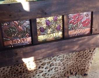 Three Paneled Floral Plaque Recycled Frame