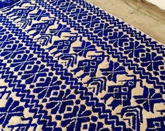 Peruvian style reversible vintage knit woven cobalt blue fabric table runner modern scandinavian wall hanging textile fiber art native scarf