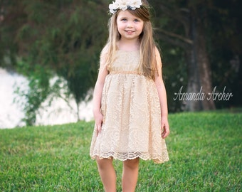 Antique Gold Lace Flower Girl Dress, Special Occasion, Birthday, Holiday