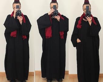 CASUAL Oversized Long Maxi Black LINEN DRESS Plus Size 18 20 22 24 Kaftan Tunic Lagenlook