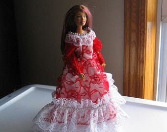 ON SALE Red and White Lace Barbie Doll Dress