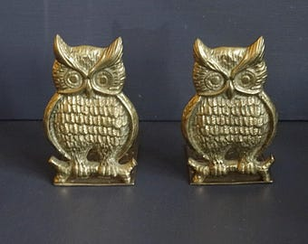 Pair Brass Owl Bookends Brass Bookends Brass Owl
