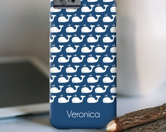 Whale iPhone Case - iPhone 7 Personalized Case  - Nautical Whale  - other models available