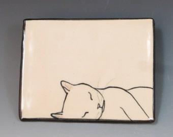 Handbuilt Ceramic Soap Dish with Cat