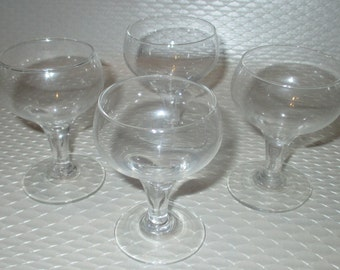 Vintage Mid Century Set of Four Cordial Glasses Glass