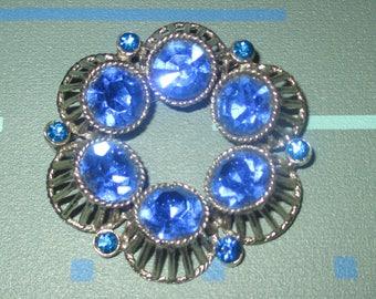 Vintage MOD Large Dark Blue Glass Rhinestone Circular Pin Brooch