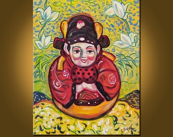 Little Buddha -- 11 x 14 inch Original Oil Painting by Elizabeth Graf on Etsy -- Art Painting, Art & Collectibles