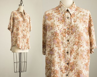 90s Vintage Silk Cream Floral Print Slouchy Collared Tunic Button Up Blouse / Size Medium