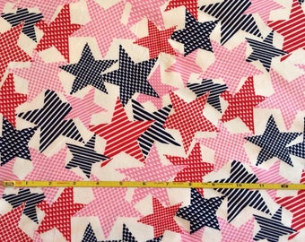 "Patriotic Red Pink and Blue Stars July 4  cotton lycra knit fabric 58"" wide"