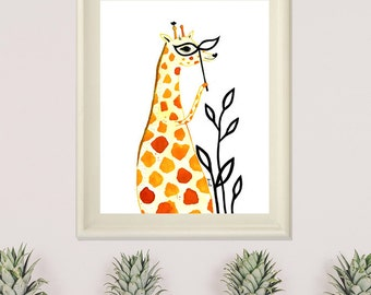 Giraffe Print, Giraffe Illustration, Giraffe Wall Art, Nursery Animal Print, Giraffe Decor, Illustration Print- Clementine