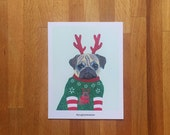 Pugly Sweater - Single 4x5 Holiday Notecard