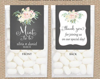 Wedding Favor Stickers for Tic Tac® Boxes - Mint to Be Favors Wedding Shower Favors - Tic Tac® Wrappers Black Board with Pastel Pink Flowers