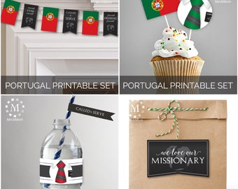 INSTANT DOWNLOAD - PORTUGAL -  Missionary Farewell Welcome Home Decoration Printable Set for Elders