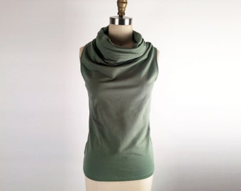 Alena Designs - Funnel - Funnel Neck Sleeveless Top Bamboo Cotton Lycra Grass Green