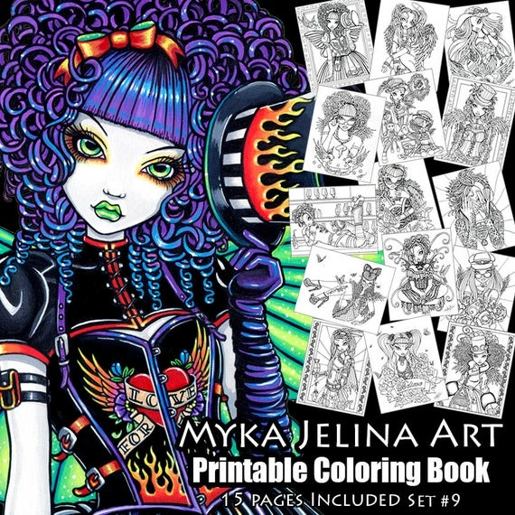 Set 9 printable coloring book myka jelina art fairy for Myka jelina coloring pages