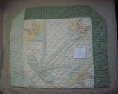 Vintage Tulip Quilt Piece From Hand Quilted Cutter Quilt
