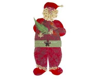 Santa Claus Christmas card - print of original pressed flower art of Saint Nick holding a Christmas tree fern - blank holiday greeting card