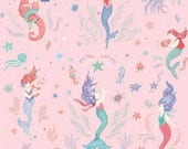 Mermaid Dreams - Mermaid - Studio E - Nautical Fabric - Fish- Sea Horse- Coral-  Ocean- Cotton Fabric- By the yard- By the half.