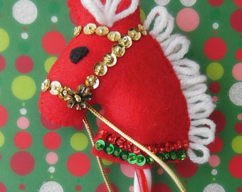 Candy Cane Horse - Felt Christmas Ornament - Vintage Reproduction