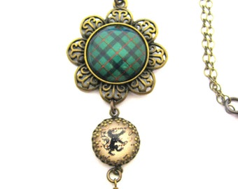 Scottish Tartan Jewelry - Ancient Romance Series - Kincaid Clan Tartan Filigree Flower Necklace w/Lion Rampant Charm & Emerald Czech Glass