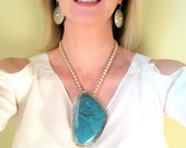RESERVED..Huge New Lander Blue Pendant and Bench Bead Necklace