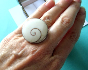 Jumbo Sterling Silver Shiva Ring Size 5.75