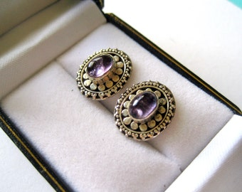 Sterling Silver and Amethyst Balinese Stud Earrings