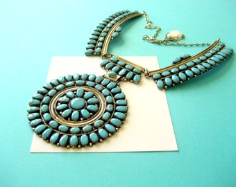 Navajo Turquoise and Sterling Cluster Necklace