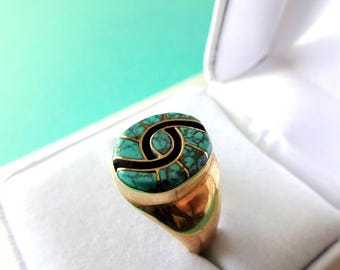 Zuni Amy Quandelacy Landers Blue and 14kt Gold Inlay Hummingbird Pattern Men's Ring