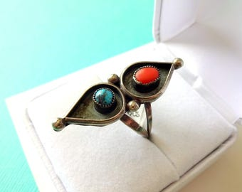 Navajo Turquoise and Red Coral Sterling Ring Size 6.75