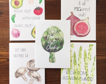 Vegetable Card. Veggie Cards. Vegetable Puns. Food Pun Cards. Set of 5. Stationery. Artichoke Card. Fig Card. Guacamole Card. Blank card