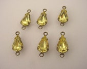 Vintage glass jonquil yellow  machine cut  pear antique brass ox setting 10x6 - 6 Pieces 2 ring charm connector