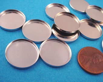 12 Silver  tone Round Bezel Cups 18mm high wall