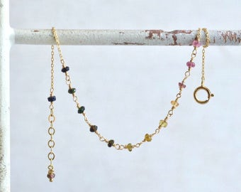 14kt Gold Tourmaline Bracelet - Multicolor Tourmaline Bracelet - Dainty Bracelet- Elegant Bracelet - Pink Green Tourmaline Bracelet