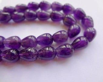 6x9mm Teardrop Natural Amethyst Gemstone Beads - Half Strand