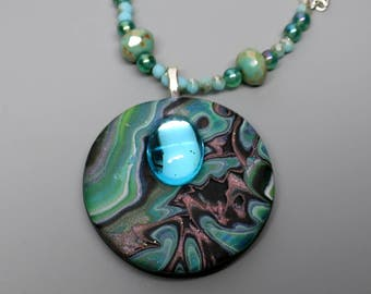 Mokume Gane Pendant, Polymer Clay and Vintage Cabochon and Czech Beads, Shades of Green, Unique Jewelry
