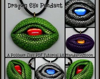 HALF OFF SALE Dragon Eye Pendant,  A Polymer Clay Pdf Tutorial, Diy Jewelry