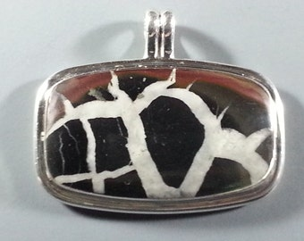 Striking Septarian and Sterling Silver Pendant