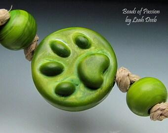 Handmade Glass Focal Bead Set Lampwork - 3pc Bright Green Dog Paw Print