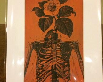 Life from Death Acrylic gel transfer skeleton flower life death splatter copper verde