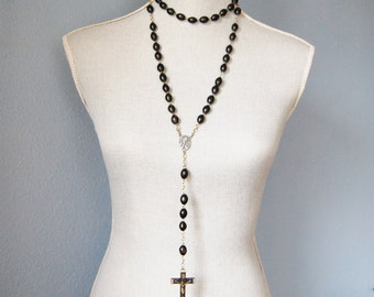 Vintage Pectoral Crucifix Rosary Italy Large Ebony Beads 1920s