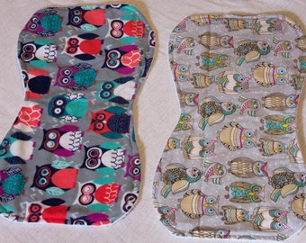 Baby Burp Cloth Set Multi-colored Owls Baby Shower Gift - Made to Order