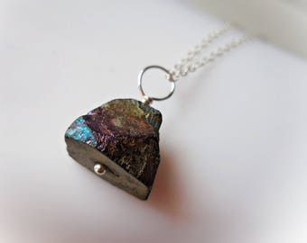 Black Tourmaline Necklace, Titanium coated black tourmaline pendant 925 sterling silver purple blue aura meditation yoga stone for women men