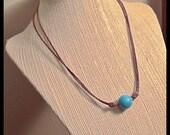 Turquoise  Leather adjustable sliding knot Necklace, Minimalist Jewelry