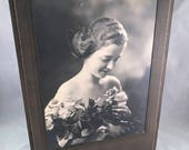 Antique/Vintage Black and White Wedding Cabinet Photograph of Young Bride