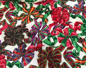 Less Than One Yard of Red and Green Christmas Bows Print Cotton Fabric from VIP Cranston Print Works