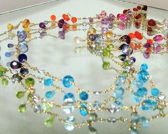 Long Rainbow Gemstone Briolette Bezel Topaz Station Necklace Vermeil Sterling Silver